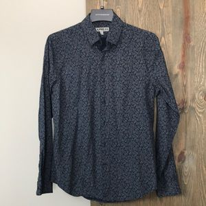 Express Navy Blue with gray floral print shirt
